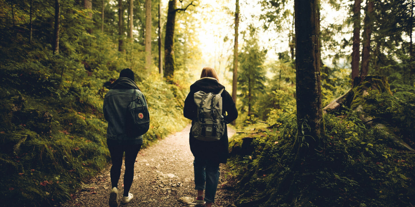Two friends in recovery walking on path in forest.