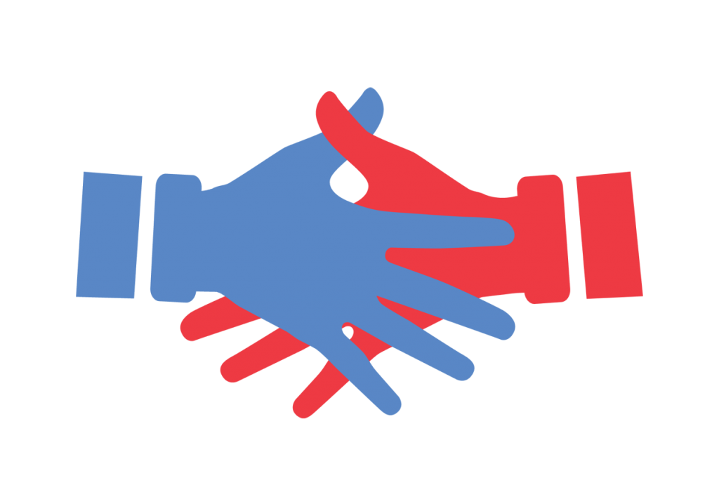 Red and blue shaking hands icon.