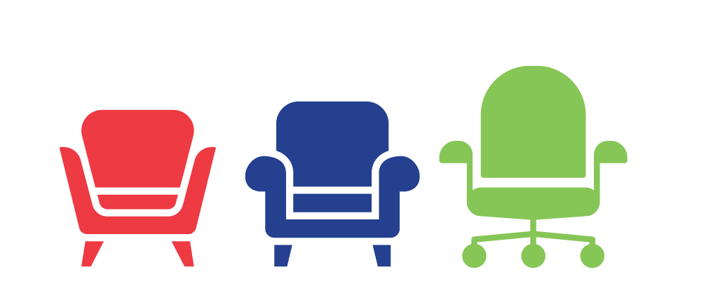 Re, blue and green chair icons.