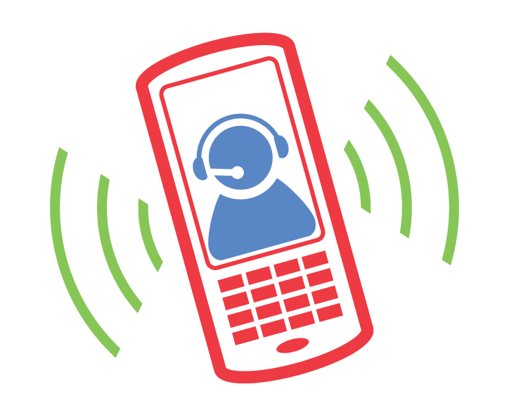 Red and blue phone icon.