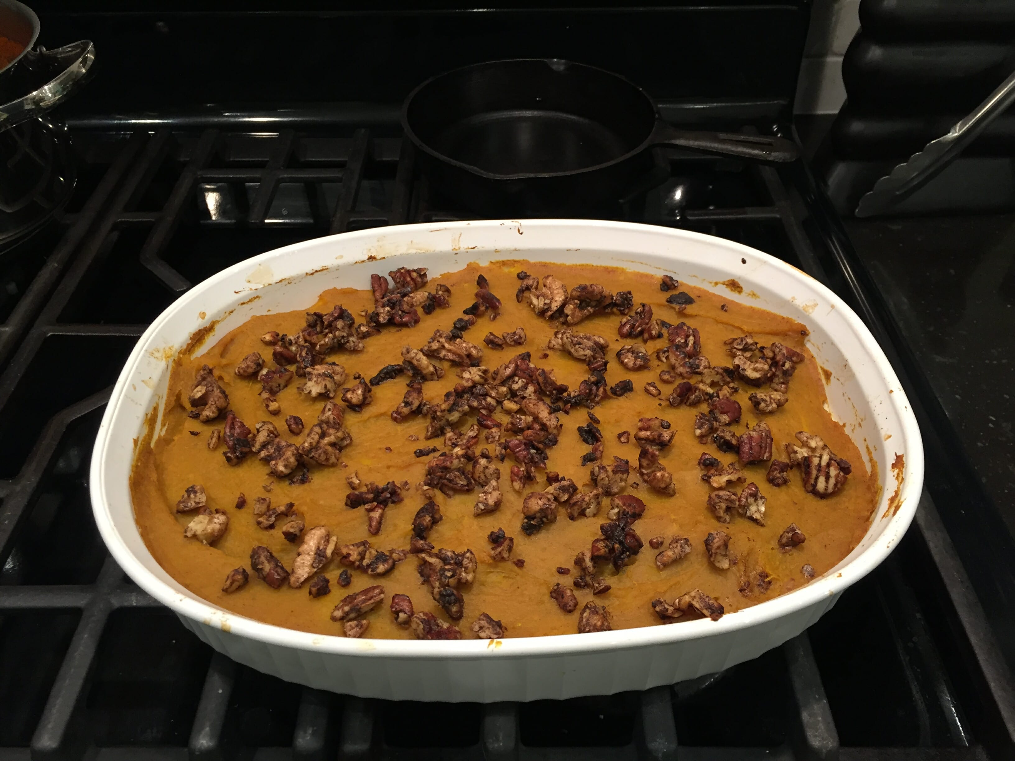 Spiced Squash Casserole on stovetop.