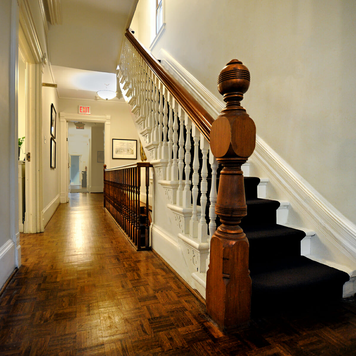 Staircase and hallway at Wright Centre entrance.