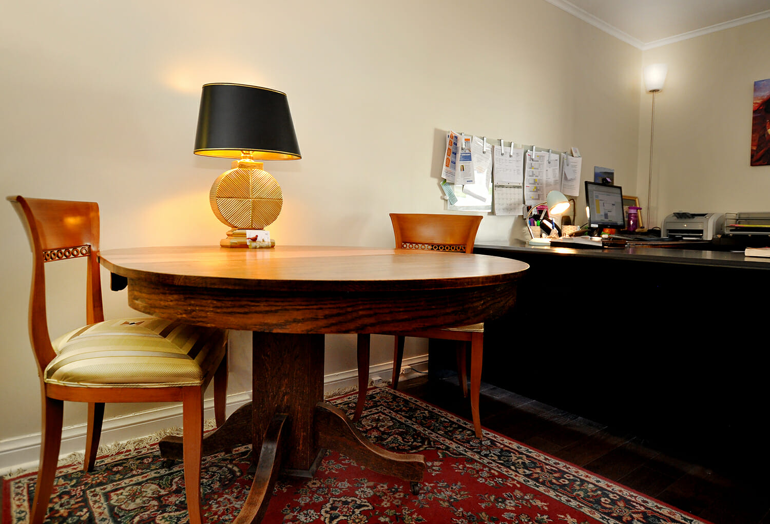 Table, lamp and desk in Munro Centre office.