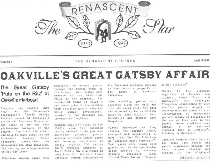 "Renascent ""The Great Gatsby Affair"" newsletter announcement"