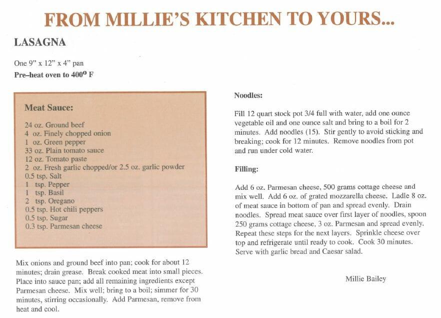 Millie Bailey's lasagna recipe
