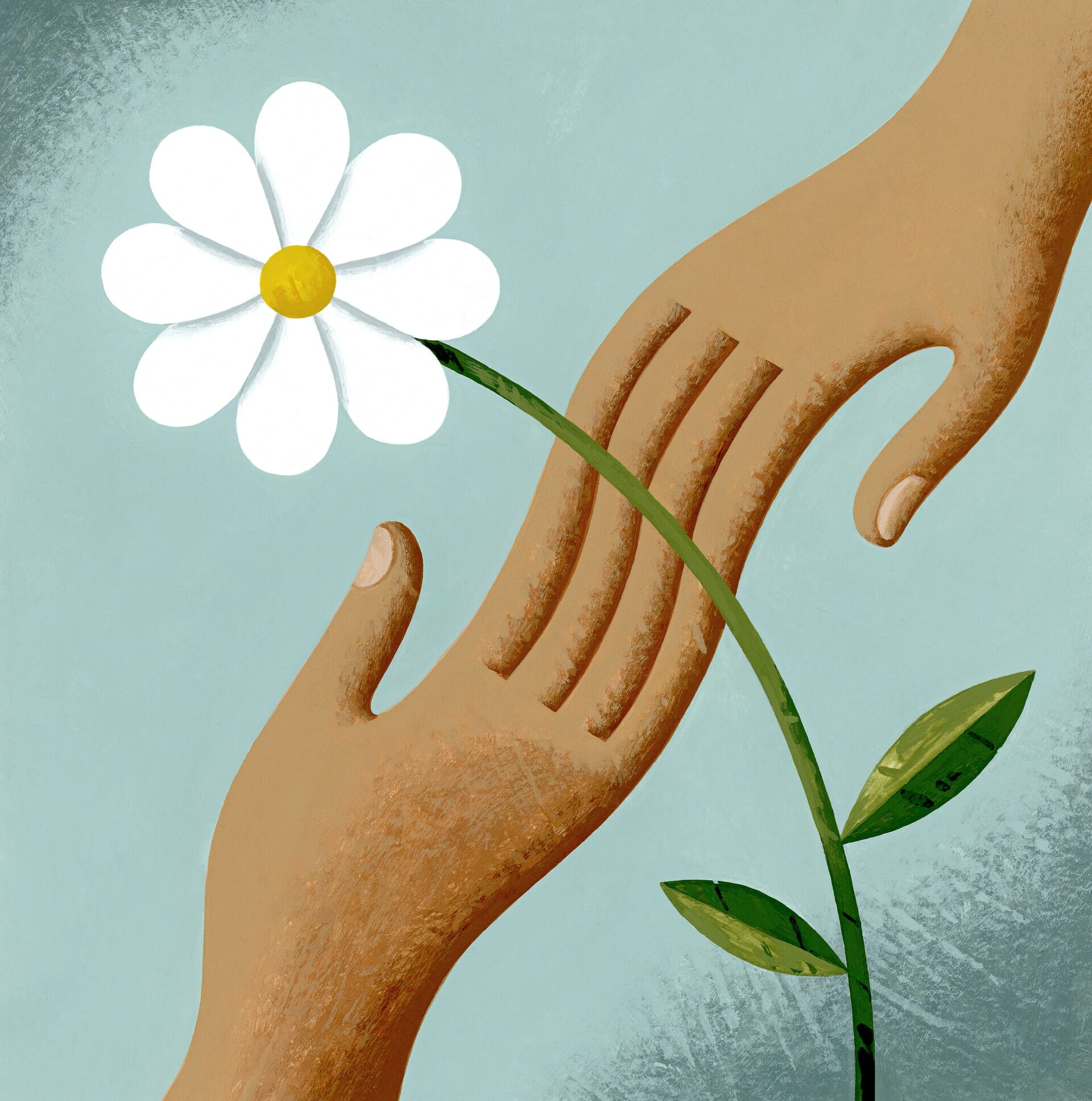 Illustration of two people holding hands and flower.