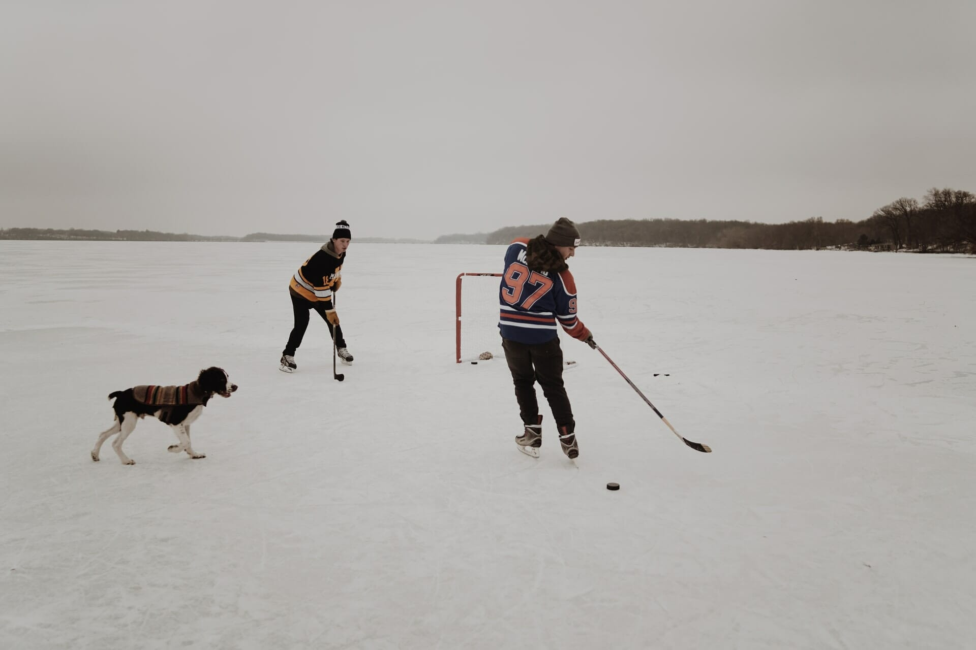 Two people playing hockey on a lake, with dog standing beside them.